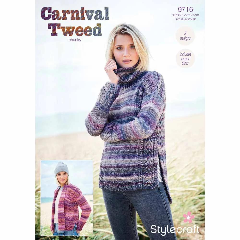 Stylecraft Carnival Tweed Chunky Knitting Pattern 9715 jumper cardigan