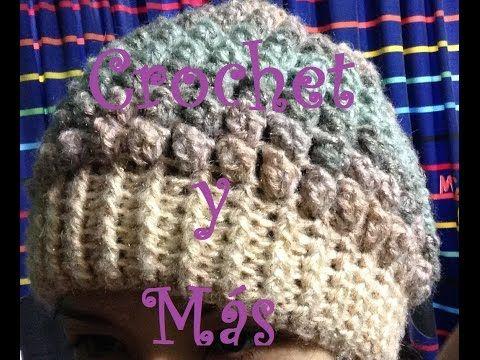 Beanie crochet Tutorial   Crochet Puff Stitch Hat (Subtitled Spanish) -  YouTube cc9fb4c63ac