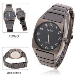 $8.65 Noble Feiwo Men's Wrist Black Steel Watch with Waterproof Japan Movt Quartz Analog Dial