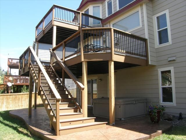 Trexpro Add A Deck Of The Rockies Brought This Deck To A New Level With Trex Elevations Find A Con Home Improvement Contractors Deck Design Home Window Repair