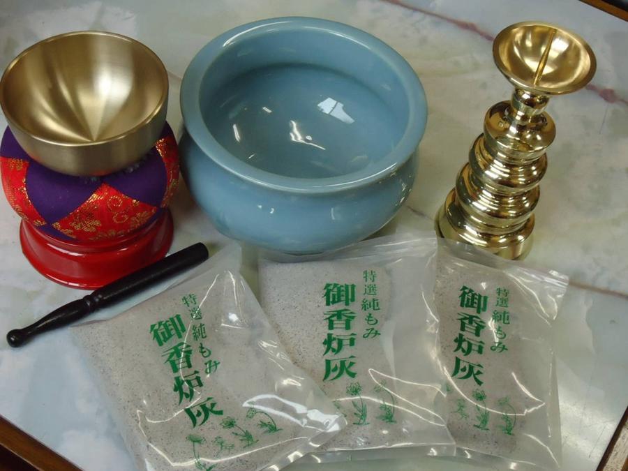 Japanese Buddhism Altar Shrine Prayer Rin Bowl, Incense Ash