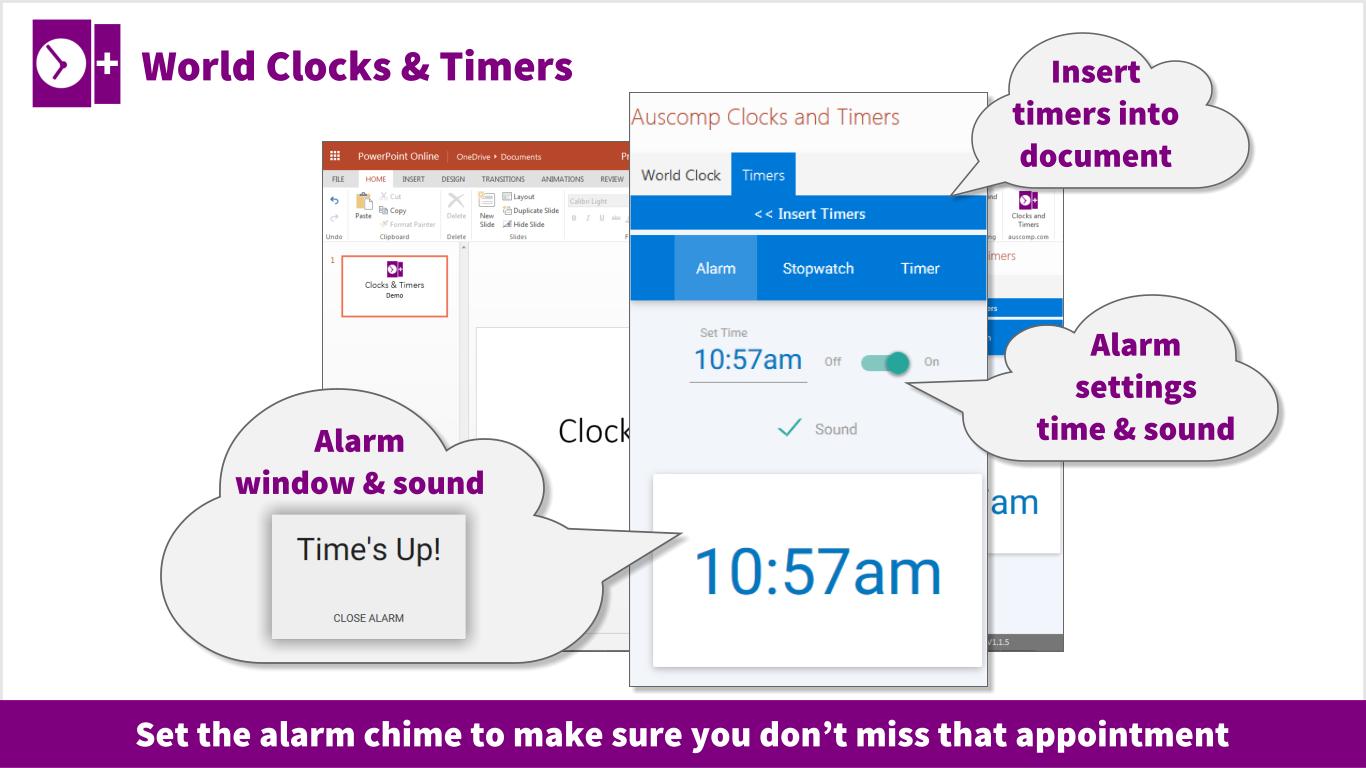 Office 365 users - Alarm clock, World Clock slider