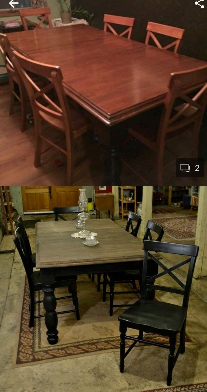 Refinished Large Table Set Original Finish Was Bumped Scraped And Scratched Stripped Top With A Dark Walnut Stain