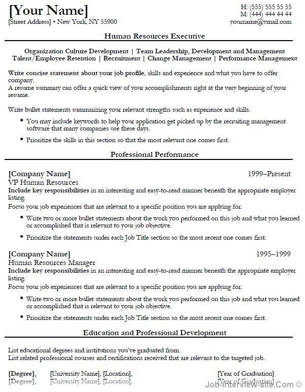 Human Resources Executive Resume-thumb Job search interview - human resources resumes