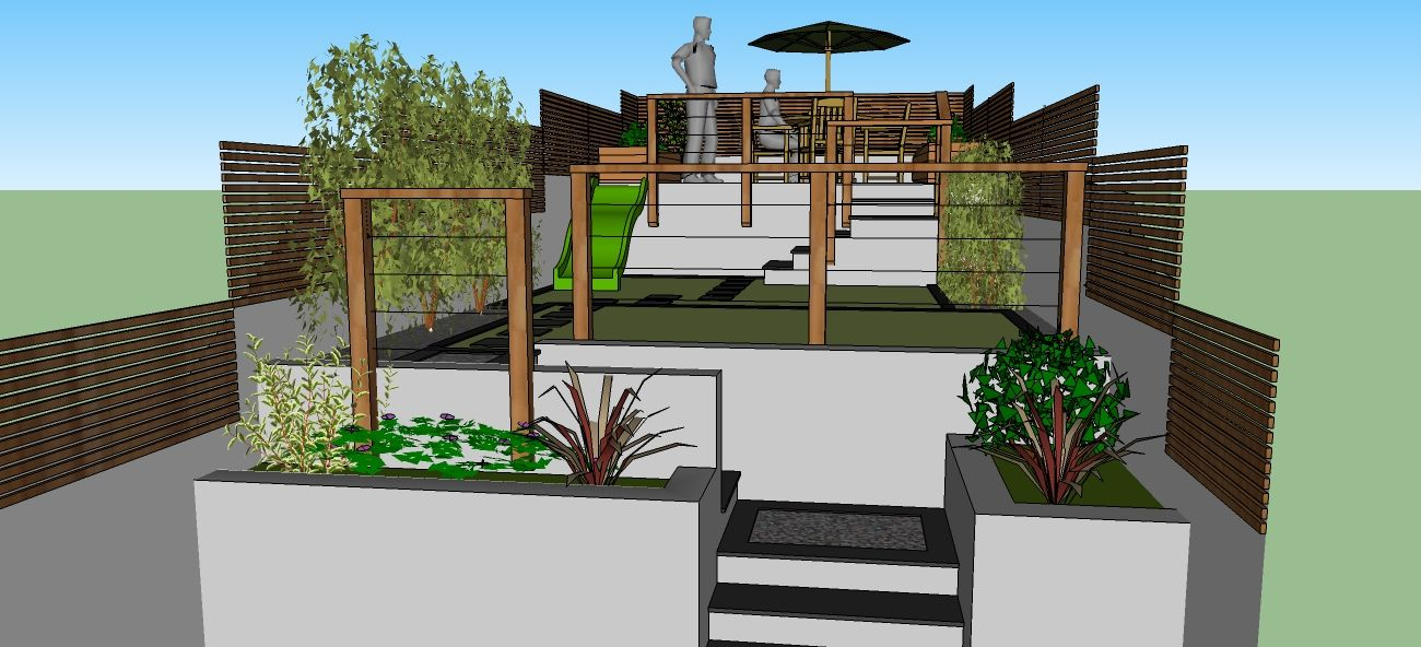 Garden design created using Google Sketchup for terraced ... on Sketchup Backyard id=40896
