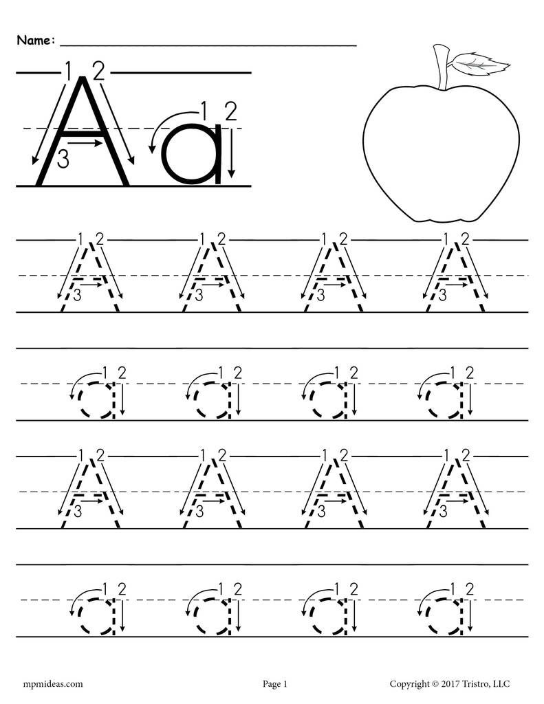 Printable Letter A Tracing Worksheet With Number and Arrow Guides!   Letter  tracing printables [ 1024 x 791 Pixel ]