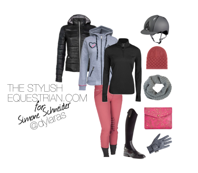 Grey KEP Italia helmet, grey UVEX sport style gloves and Barney's cashmere infinity scarf. The old rose comes back to match the breeches in the form of a Bottega Veneta wool beanie and a Patricia Nash iPad case, a pair of De Niro Boots
