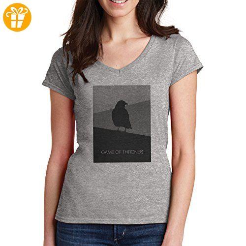 Game Of Thrones The Raven Design XXL Damen V-Neck T-Shirt (*