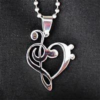 Music pendant treble heart clef charm necklace stainless steel music pendant treble heart clef charm necklace stainless steel silver w chain aloadofball Choice Image