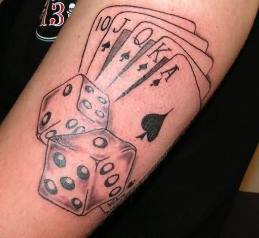 poker cards and dice tattoos on biceps stuff pinterest dice tattoo tattoo and tattoo designs. Black Bedroom Furniture Sets. Home Design Ideas