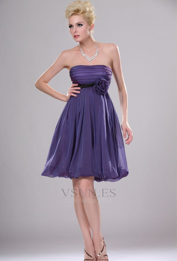 Vestido+de+dama+de+honor+Amatista+Flores+Sencillo+Verano+Imperio+ ...