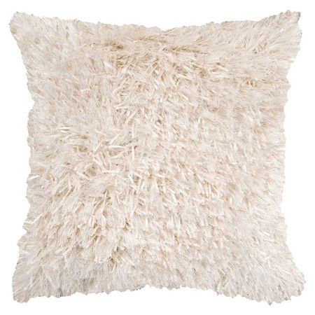 Cotton-linen pillow with a shag texture in peach cream.       Product: Pillow Construction Material: 100% Polyester...