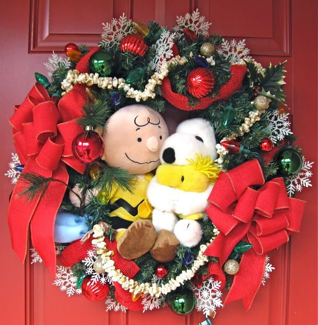 Charlie Brown and Snoopy Christmas wreath