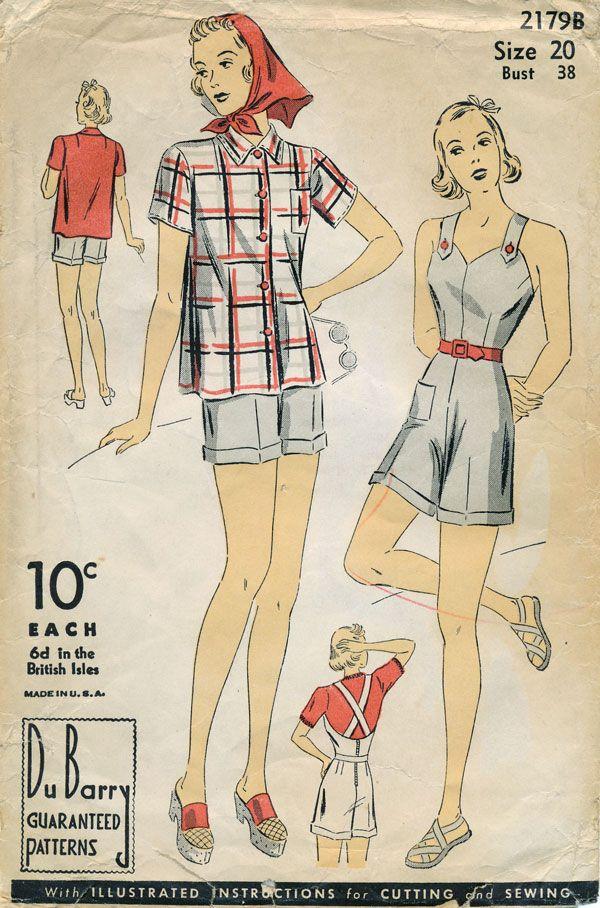 1940s DuBarry 2179B Romper and Shirt   Sew Inspired: Vintage   Pinterest