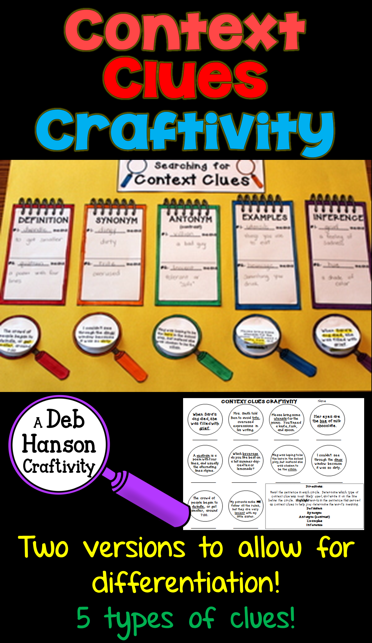Context Clues Craftivity!  Teach five types of context clues with this activity: definition, synonym (restatement), antonym (contrast), example, and inference. Students read ten sentences and determine the meaning of the underlined words AND the type of context clue they used to identify the meaning. This is differentiated so that it can be used across multiple grade levels.