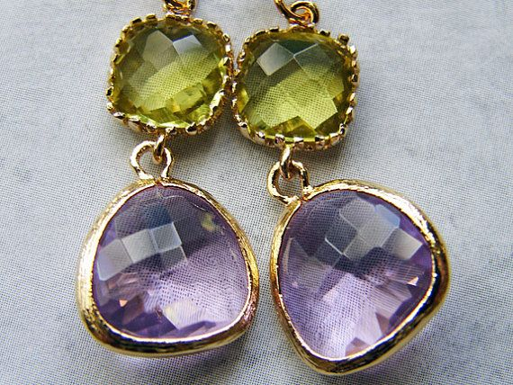 Lavender Earrings Faceted Glass Teardrop Charm by smallbluethings, $28.00