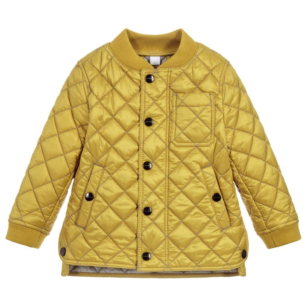 f8080438183 Yellow Quilted FINCHLY Jacket for Girl by Burberry. Discover more beautiful  designer Coats & Jackets for kids online