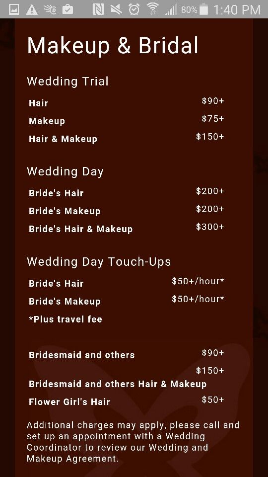 Examples Of Make Up And Bridal Pricing Packages Bridal Packages Bridal Business Wedding Biz