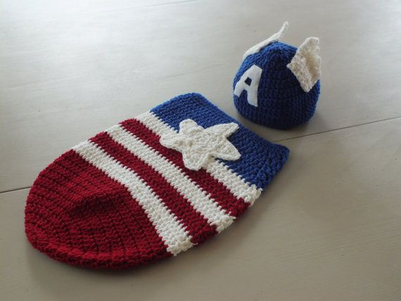 Captain America Newborn Cocoon bunting and by crochetherodesigns ...
