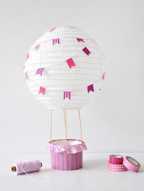 DIY Heißluftballon für das Kinderzimmer. Eine Deko für kleine Mädchen oder Jungs.