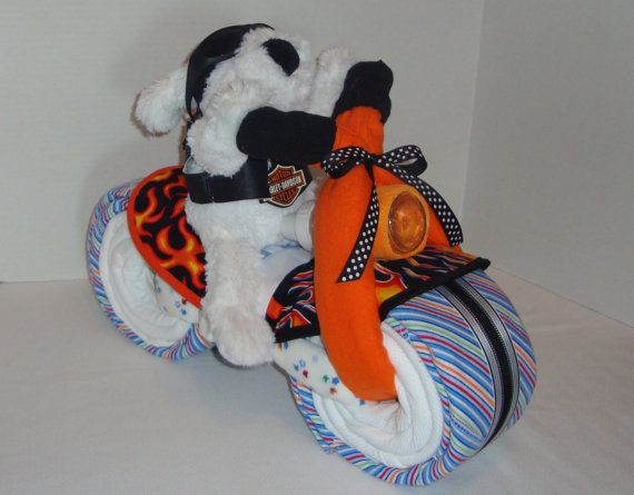 biker baby, motorcycle bike diaper cake, baby shower gift, Baby shower invitation