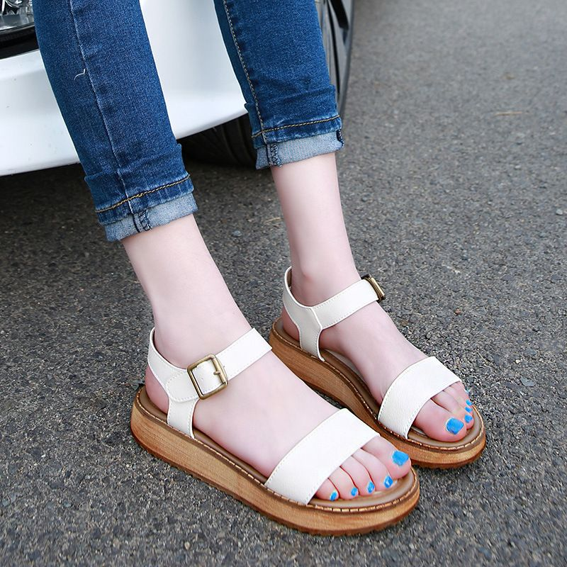 2017 Black And White Summer Women Sandals Ladies Casual Leather Soles Thick  Sandals Girls Roman Muffins