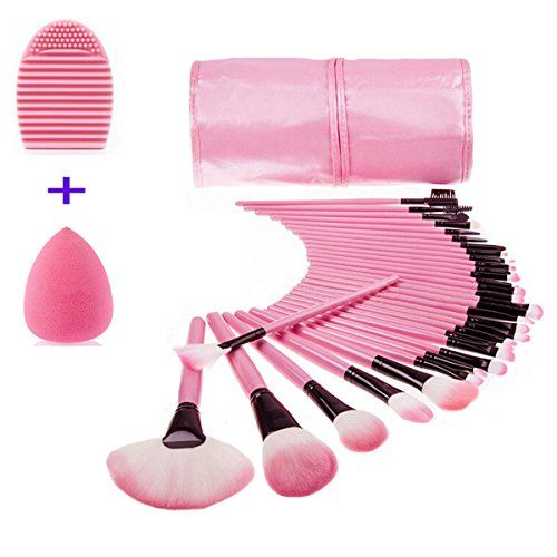 32 PCS Makeup Brush Set Face Eye Shadow Eyeliner Foundation Blush Lip Makeup Brushes Powder Liquid Cream Cosmetics Blending Brush Tool  Black Pouch Bag by Sipaike Pink bag with pink brush -- Details can be found by clicking on the image.