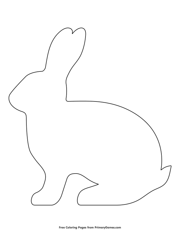 Simple Rabbit Outline Coloring Page • FREE Printable eBook