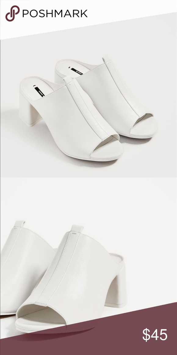 1ae3d74ae072 Zara white block heel mules New with tag. Price is firm. 10% off this  weekend only. Please ask before purchasing for discount shipping Zara Shoes  Heels