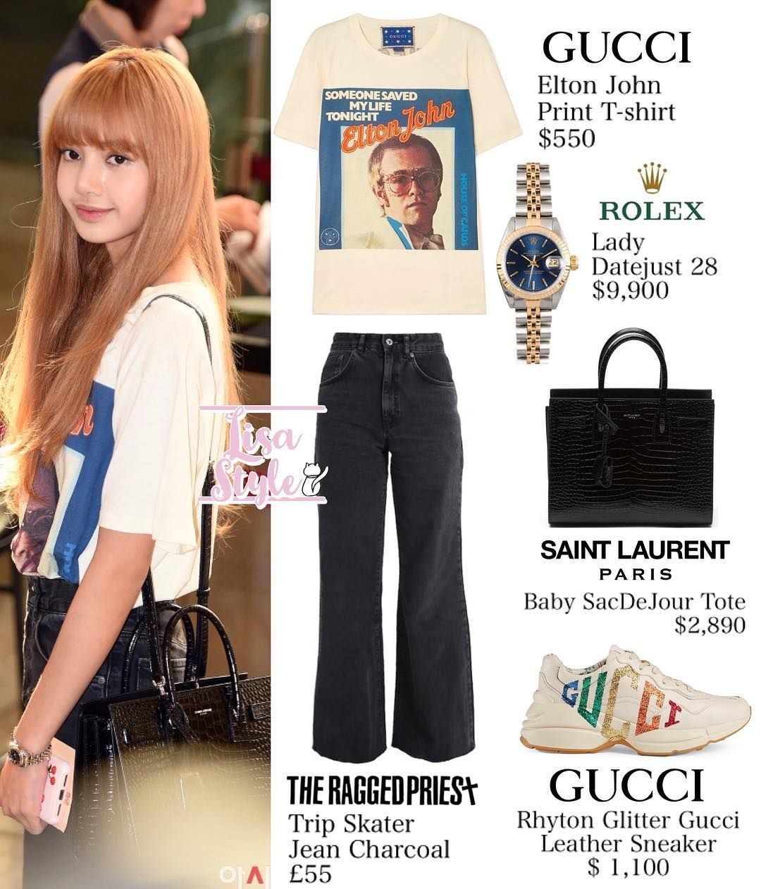 6a4fb8a8320 180917 - GMP AIRPORT  BLACKPINK  블랙핑크  LISA  리사  LISAstyle  패션  GUCCI   SAINTLAURENT