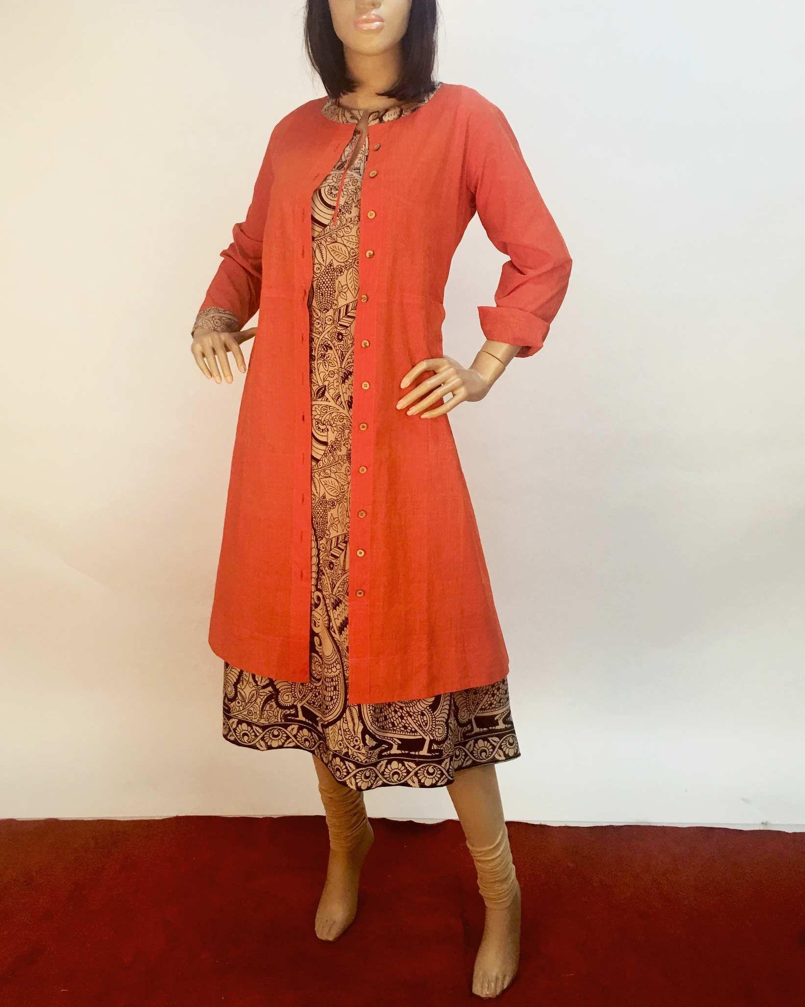 Orange U0026 Beige Pure Cotton Kurti Long Jacket | The Lookbook - Indian Western And Indo-Western ...