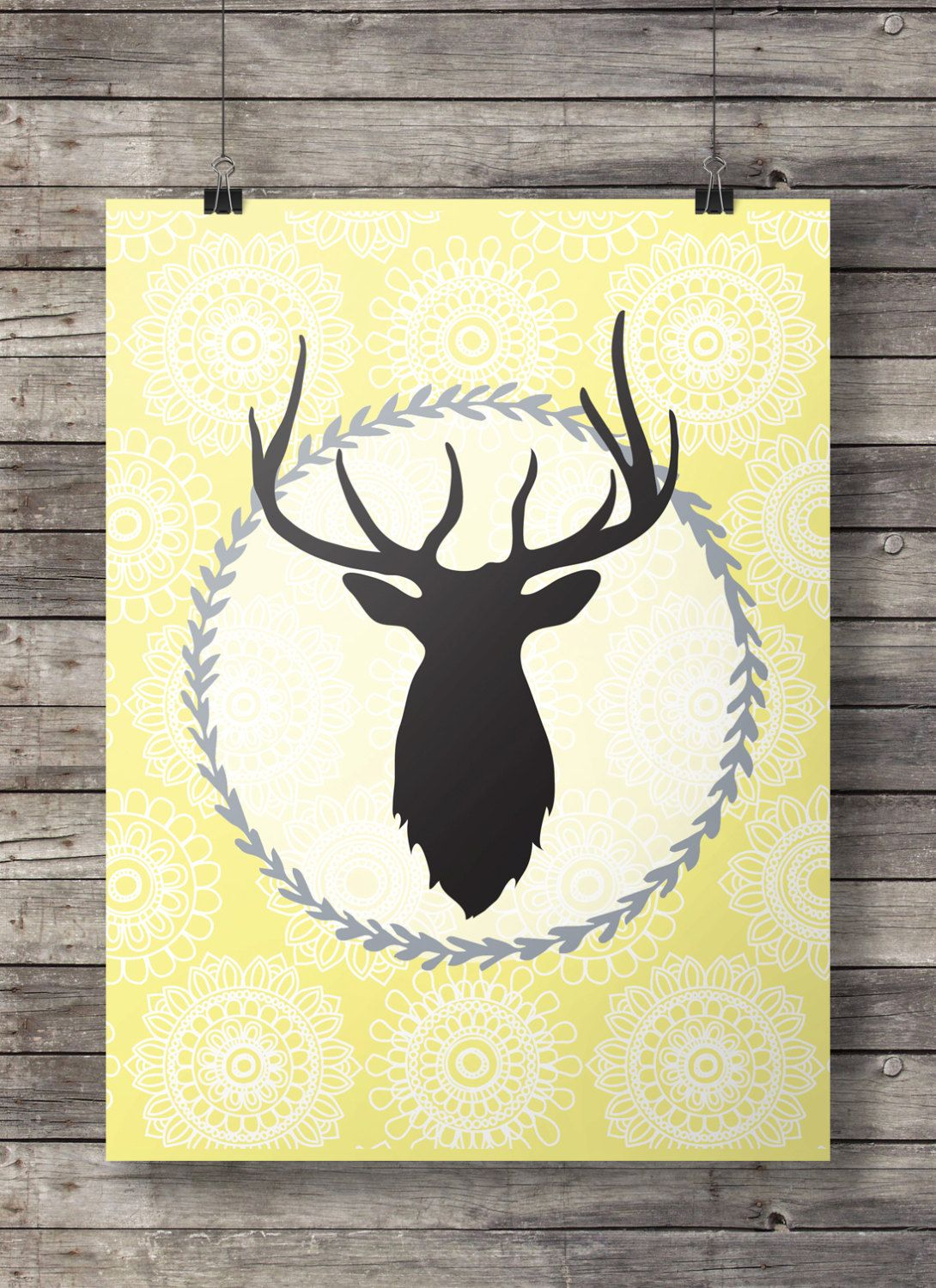 Yellow deer head Printable wall art - Yellow and grey Letter size ...