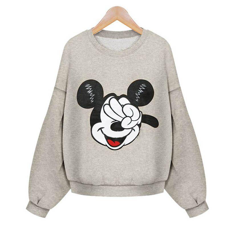 Seemee invierno mujeres sudadera carácter Mickey imprimir cálido Fleece  jerséis con capucha deportes femenina de gran