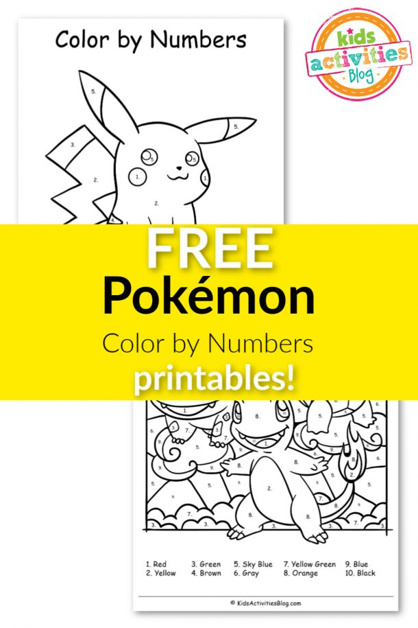FREE Pokémon Color by Numbers Printables! in 2020   Color ...