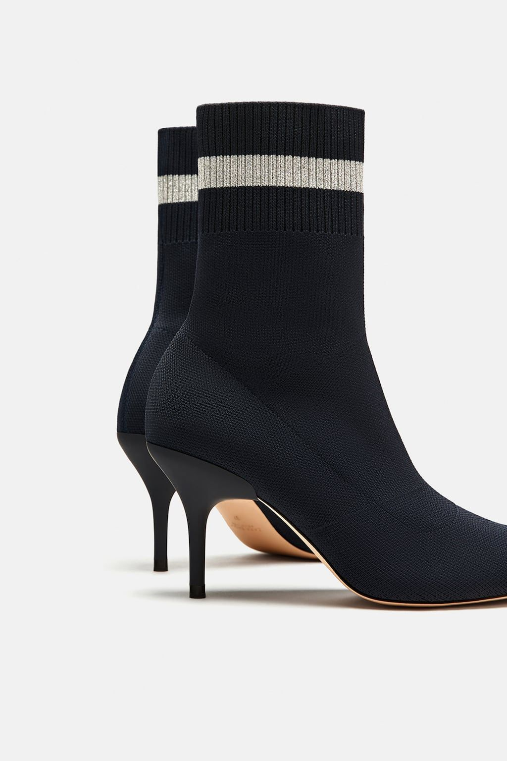 30fd2d9d8 Image 4 of HIGH-HEELED SOCK-STYLE ANKLE BOOTS WITH STRIPED DETAIL from Zara