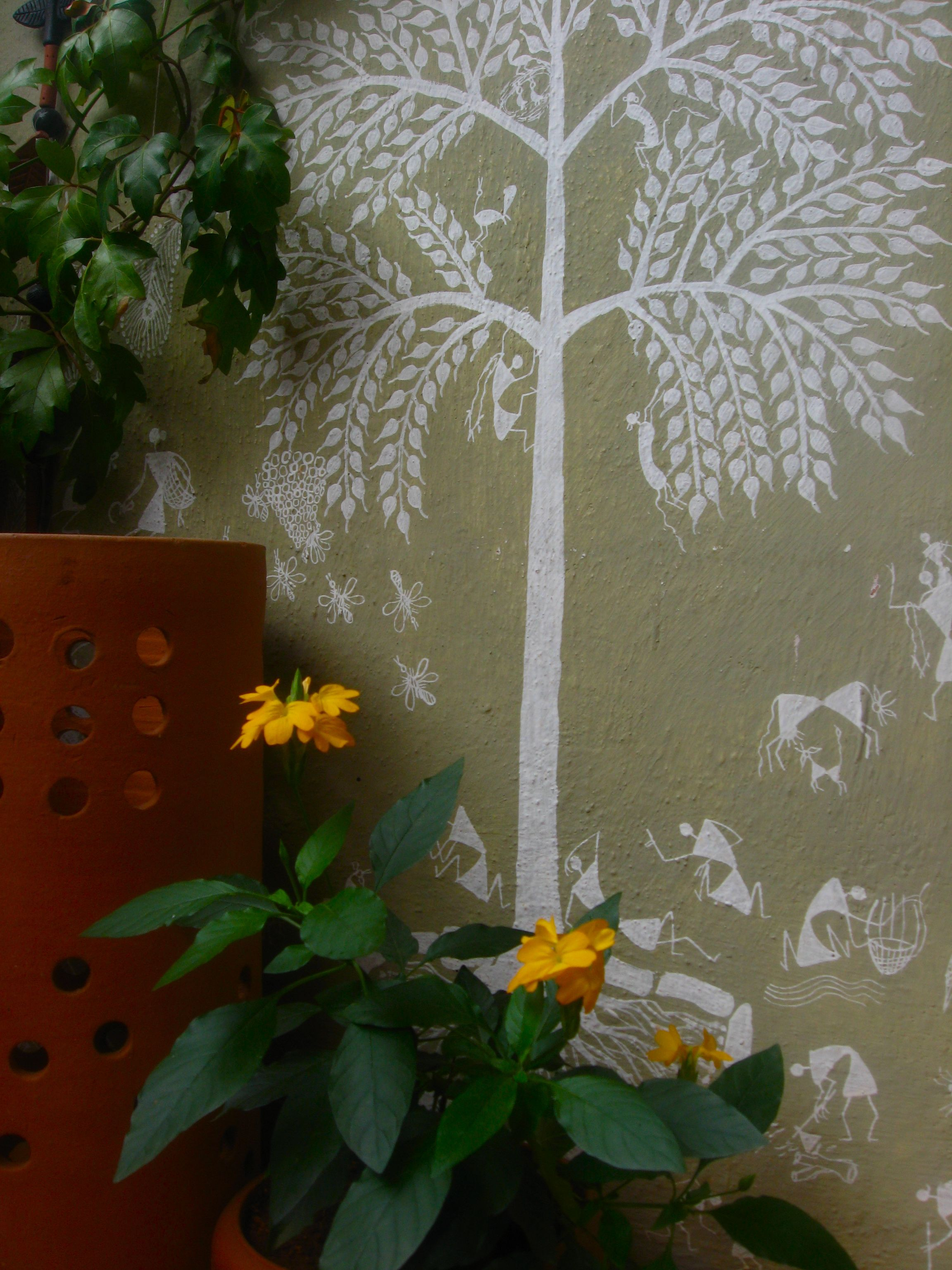 Outdoor warli indian home decor pinterest paintings walls outdoor warli gond paintingfarmhouse gardenindian amipublicfo Image collections