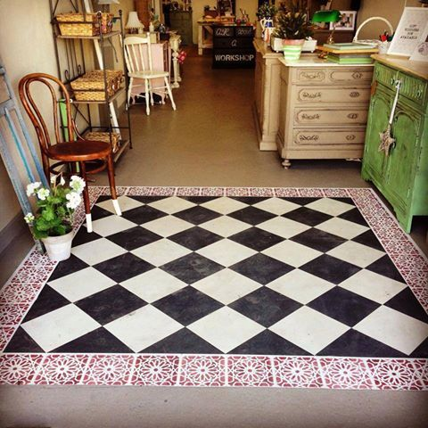 This Inviting Faux Tile Floor Design Was Created With Old Ochre Graphite Primer Red Scandin Stenciled Concrete Floor Painted Concrete Floors Concrete Floors