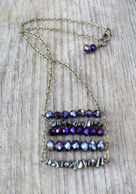 Ladder Chain Necklace Crystal Jewelry Pyrite by Eleven11designs