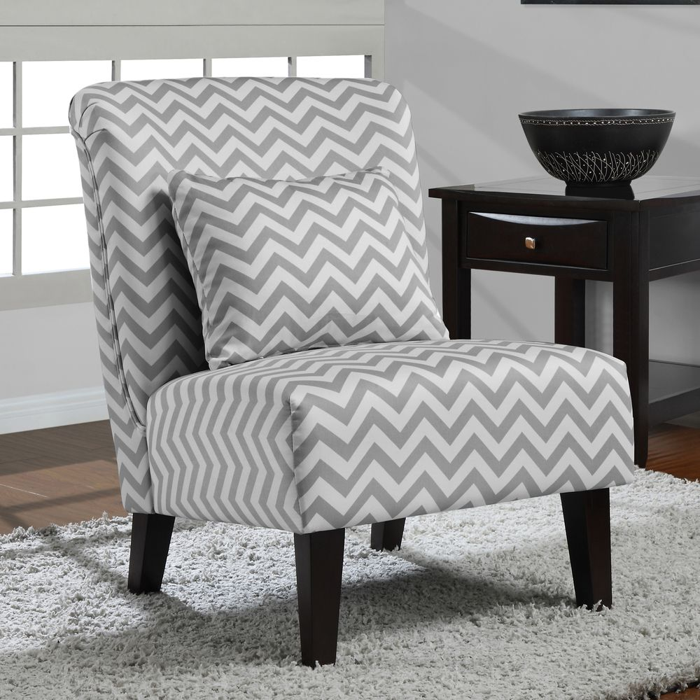 Awesome Anna Grey/ White Chevron Accent Chair | Overstock.com Shopping   The Best  Deals