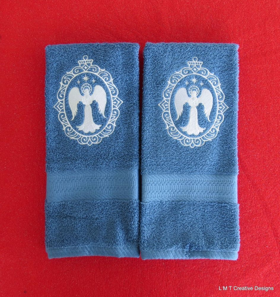 Angel Cameo Design-Embroidered Kitchen/Hand Towel Set of 2 ...