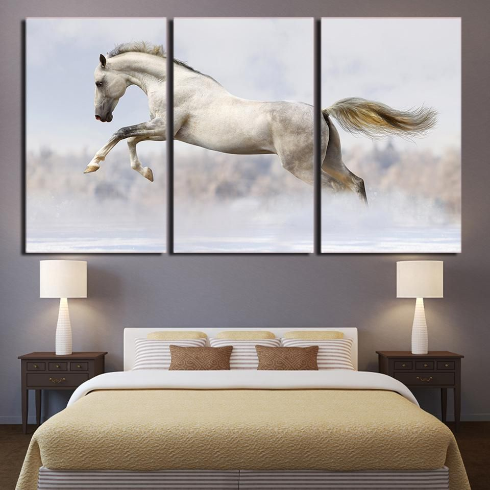 White Galloping Running Horse Wall Picture for Living Room Modern ...