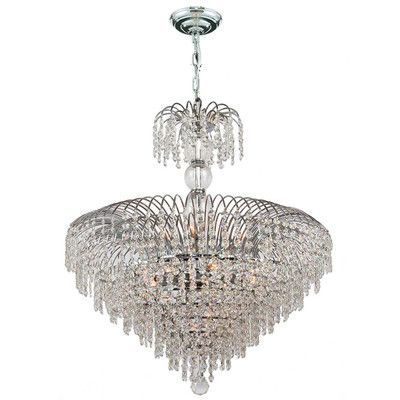 "Worldwide Lighting Empire 14 Light Crystal Chandelier Size: 28"" H x 24"" W"