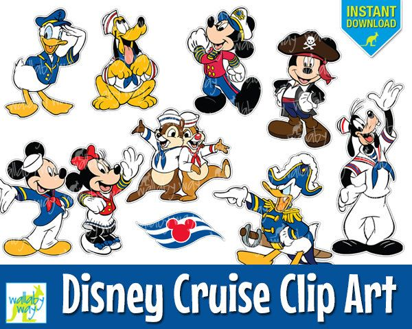 disney cruise digital clip art with mickey, minnie, donald, pluto