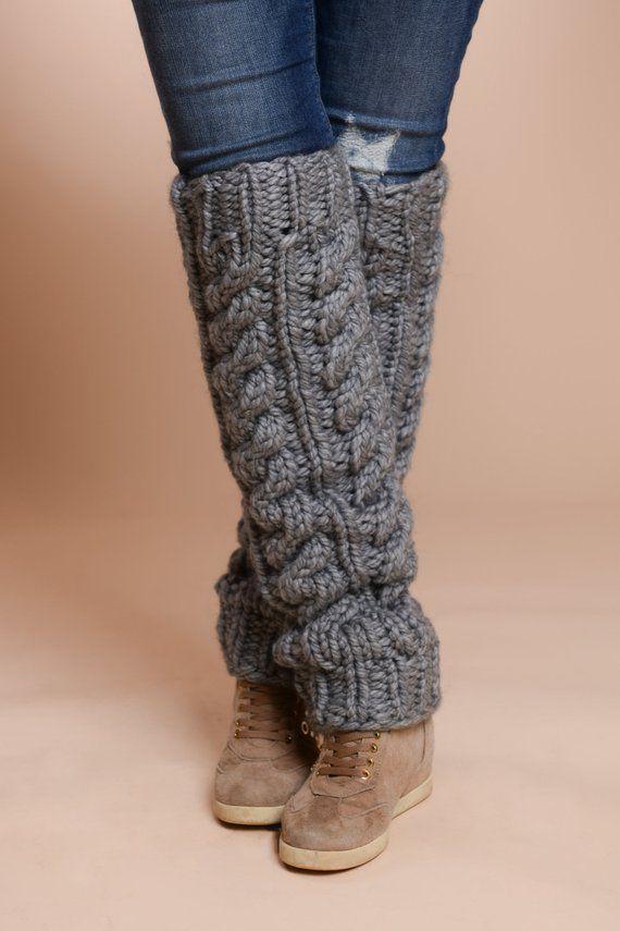 Photo of Wool Leg Warmer, Cable Knitted Warmer, Hand Knitted Socks, Chunky Leg Warmer, Long Striit Tights, Dancer Leg Warmer