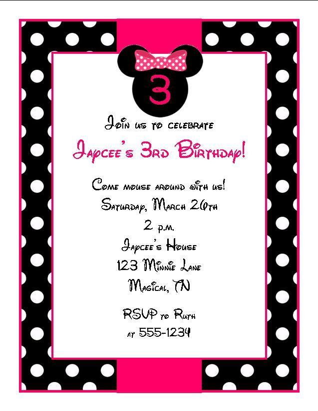 Minnie Invite Minnie Mouse Birthday Minnie Mouse Birthday Party Minnie Mouse Birthday Party Supplies