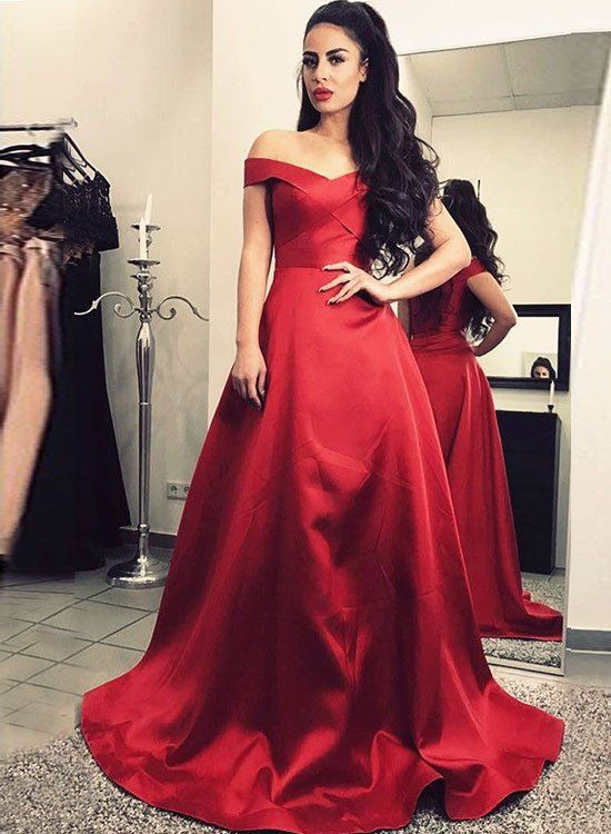Fabulous Red Off Shoulder Prom Dress,Long Evening Dresses ...