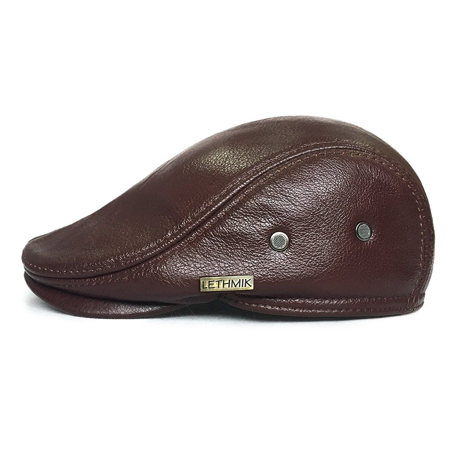 dba9aa8125cfb2 Amazon.com: LETHMIK Flat Cap Cabby Hat Genuine Leather Vintage newsboy Cap  IVY Driving Cap XL-Brown: Sports & Outdoors