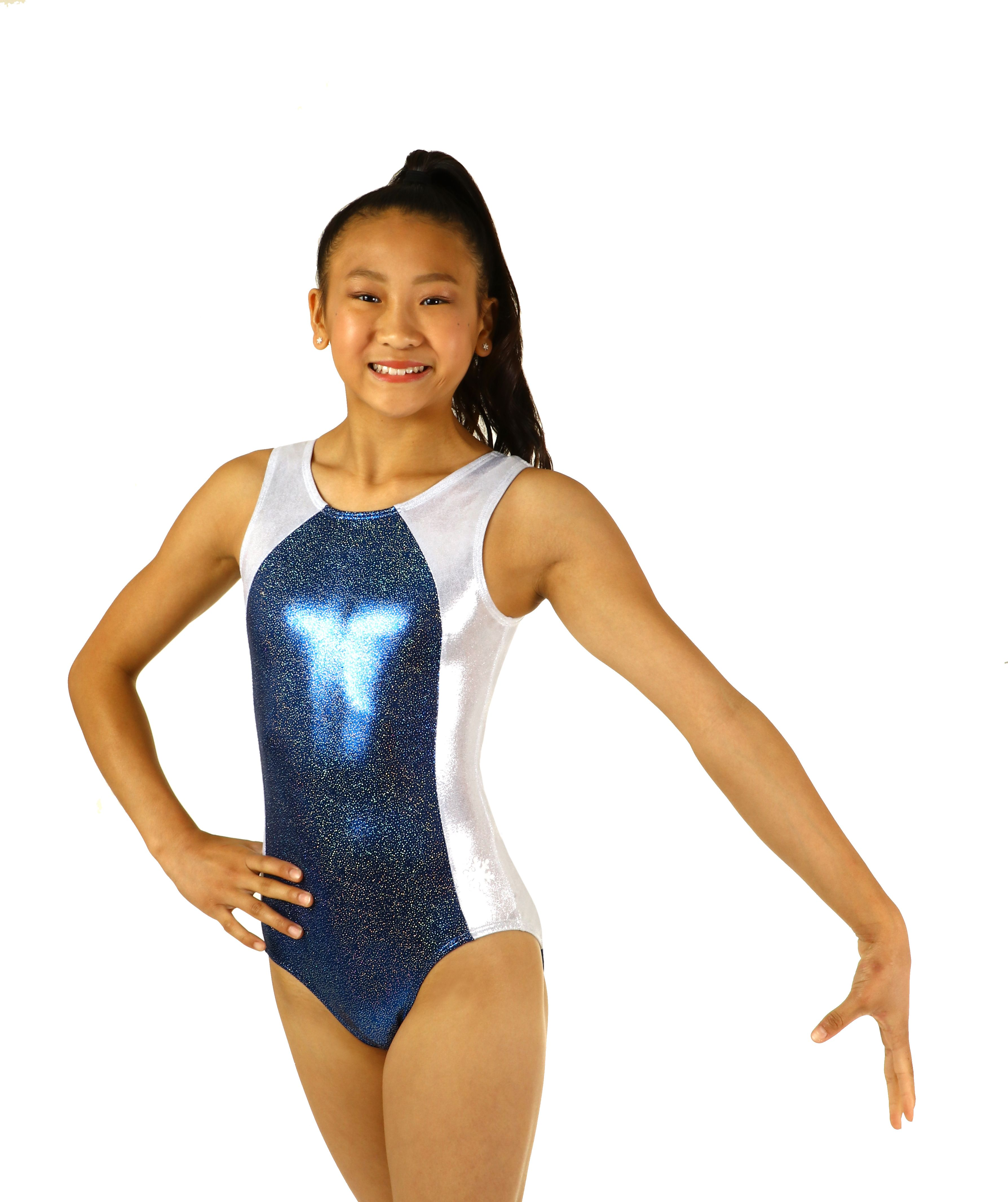fc30e51a10f94 Sparkle like a precious gem in this classy gymnastics leotard. The deep  blue mystique is covered in silver sparkle for a shine like no other.