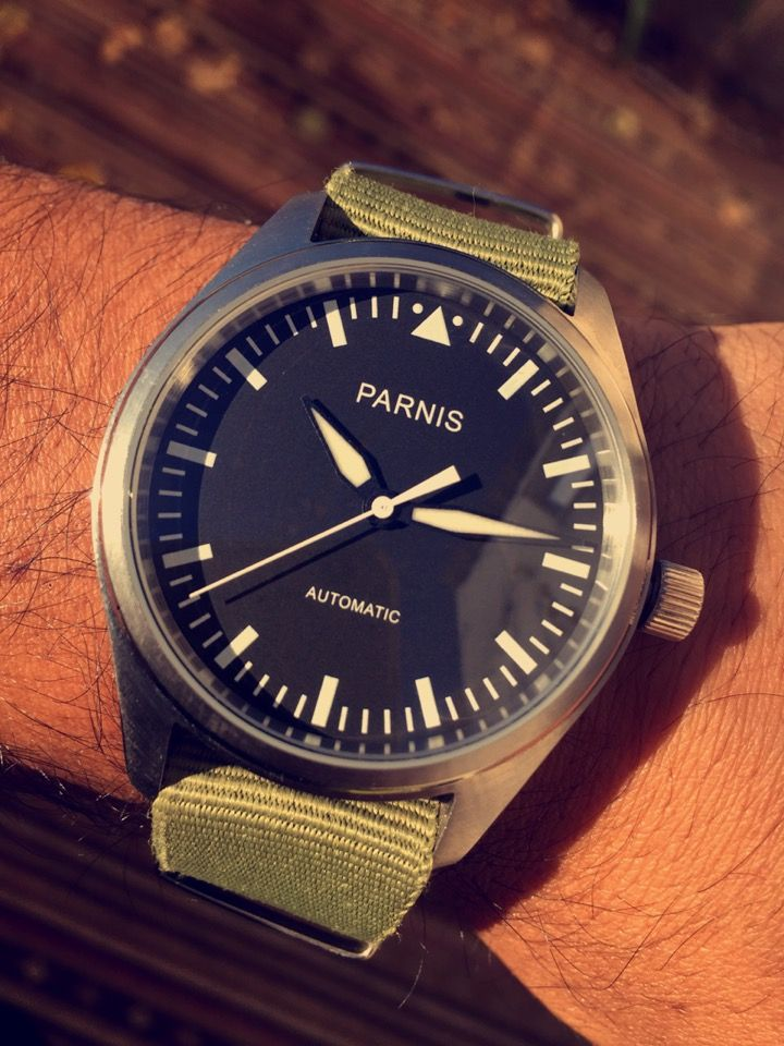 Parnis Flieger 42mm automatic. 22mm used Nato strap