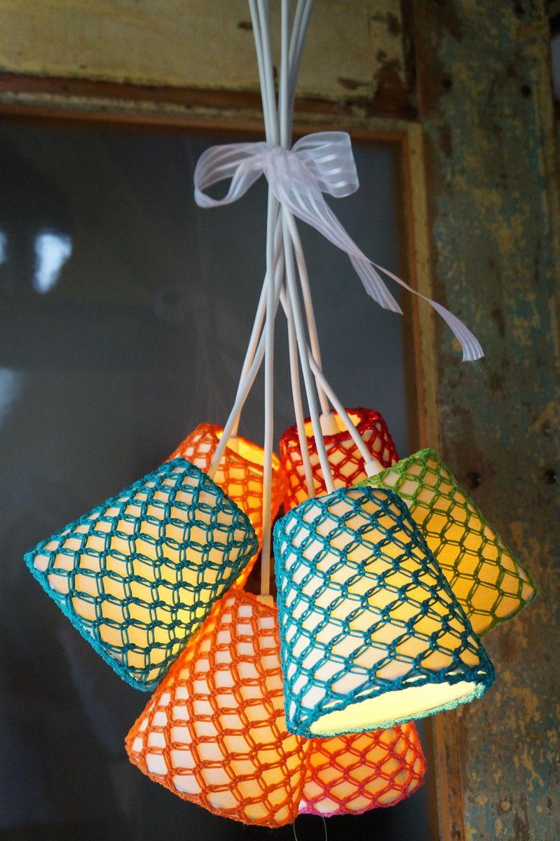 Luminária Pendente 7 Cúpulas Crochê | Crie Casa Decoração | Elo7